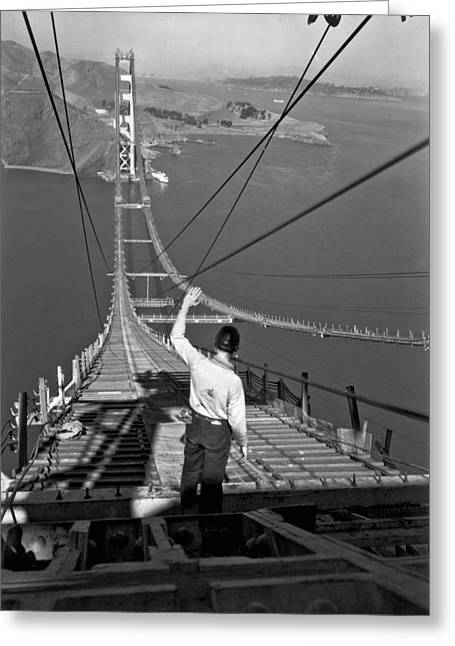 Golden Gate Bridge Worker Greeting Card by Underwood Archives