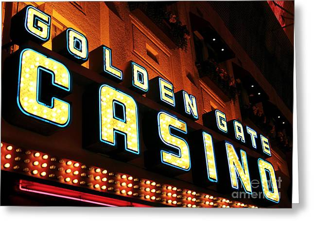 Freemont Street Greeting Cards - Golden Gate Casino Greeting Card by John Rizzuto
