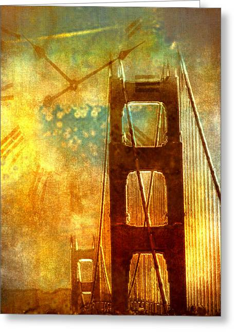 Paint Photograph Greeting Cards - Golden Gate Celebration Greeting Card by Barbara D Richards