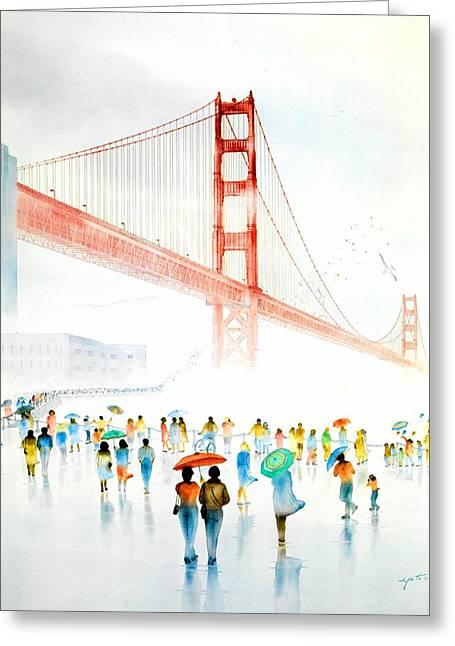 Celebration Art Print Greeting Cards - Golden Gate Celebration Greeting Card by John YATO