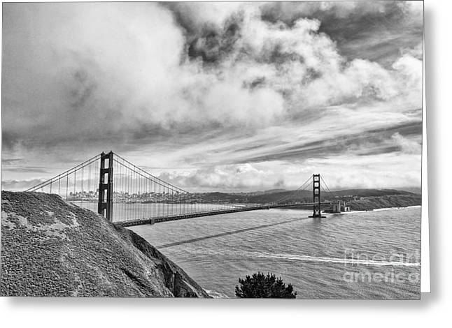Panoramic Ocean Greeting Cards - Golden Gate Drama - Golden Gate Bridge in San Francisco California Black and White Greeting Card by Jamie Pham
