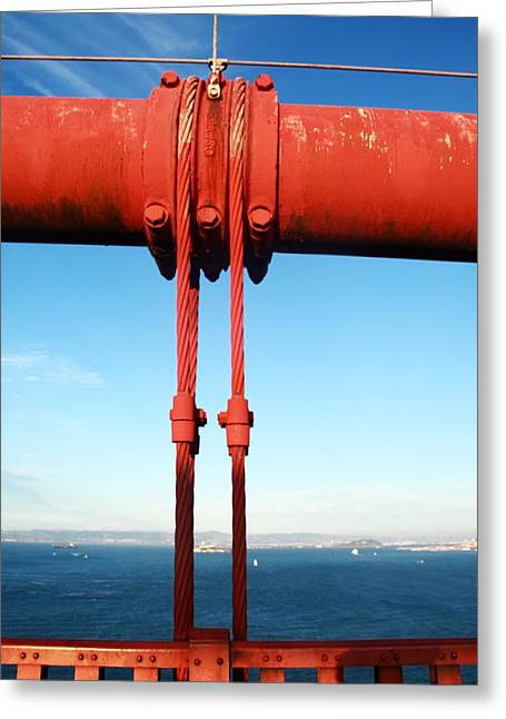 Famous Bridge Greeting Cards - Golden Gate Fixing Greeting Card by Aidan Moran