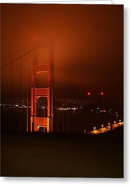 San Francisco Pyrography Greeting Cards - Golden Gate Fog Greeting Card by Pobby Heglar