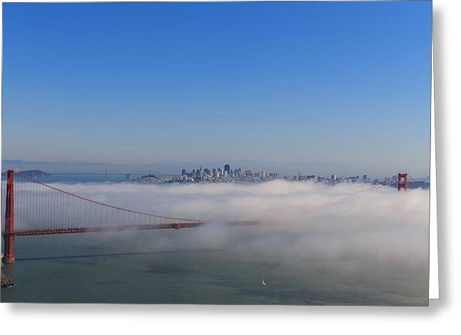 Pacific Ocean Prints Greeting Cards - Golden Gate fog rolling in Greeting Card by Henry Inhofer