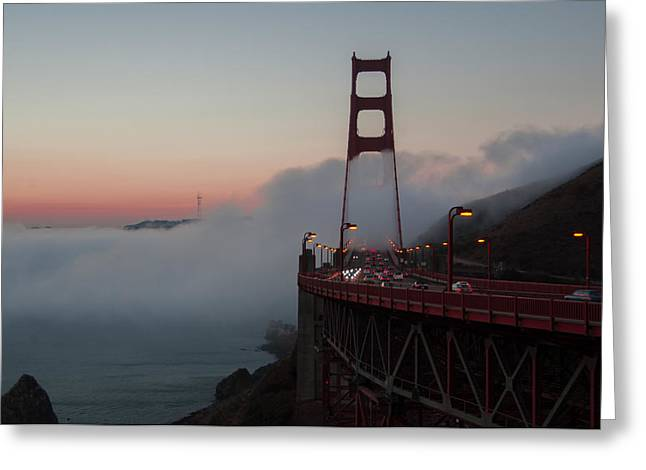 Temperature Inversion Greeting Cards - Golden Gate Fog Greeting Card by Terry Hopkins