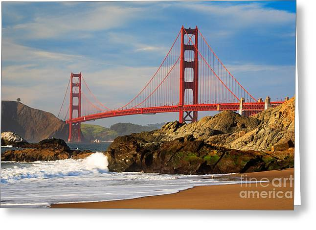 Californian Greeting Cards - Golden Gate from the Beach Greeting Card by Inge Johnsson