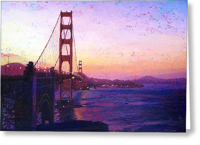 Sausalito Greeting Cards - Golden Gate Greeting Card by Gina Tecson