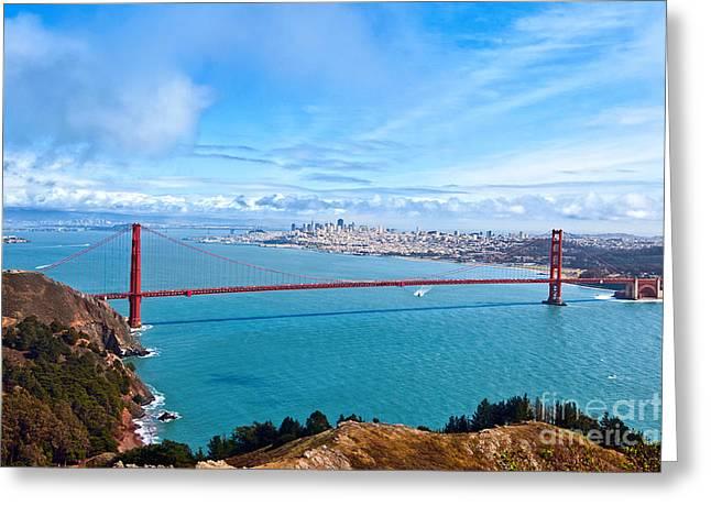 Panoramic Ocean Greeting Cards - Golden Gate Glory - Golden Gate Bridge in San Francisco California Greeting Card by Jamie Pham