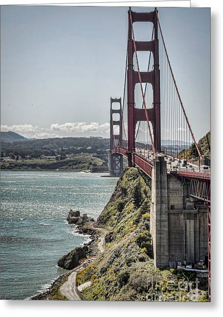 Coast Hwy Ca Greeting Cards - Golden Gate Greeting Card by Heather Applegate