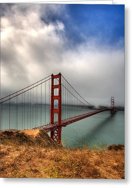 Hdr Landscape Photographs Greeting Cards - Golden Gate in The clouds Greeting Card by Peter Tellone
