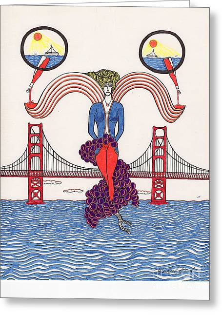 California Beach Art Drawings Greeting Cards - Golden Gate Lady and Wine Greeting Card by Michael Friend