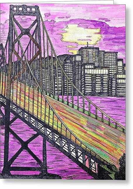 Golden Gate Drawings Greeting Cards - Golden Gate Greeting Card by Michael  Parrella