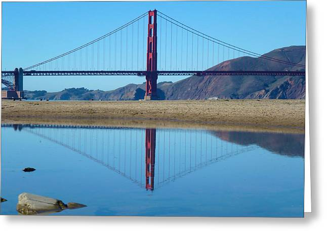 Points Pyrography Greeting Cards - Golden Gate Mirrors Reflection Greeting Card by Fabien White