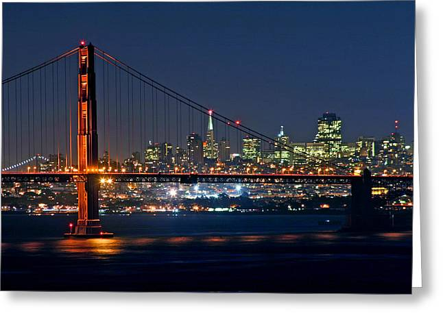 Bay Bridge Greeting Cards - Golden Gate Night 10-26-10 Greeting Card by Christopher McKenzie
