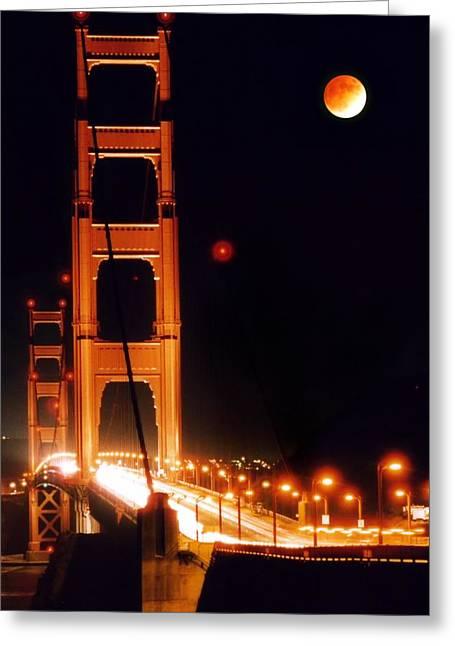Golden Gate Night Greeting Card by DJ Florek