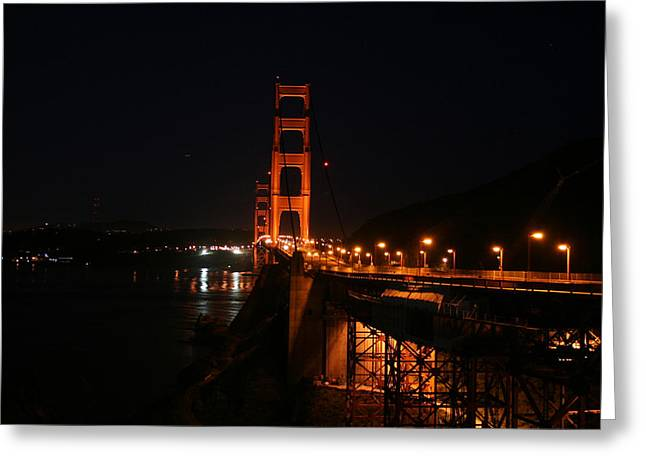 San Francisco Pyrography Greeting Cards - Golden Gate Night Greeting Card by DUG Harpster