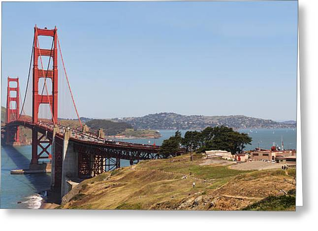 Sausalito Greeting Cards - Golden Gate Panorama 7 Greeting Card by Jack Schultz