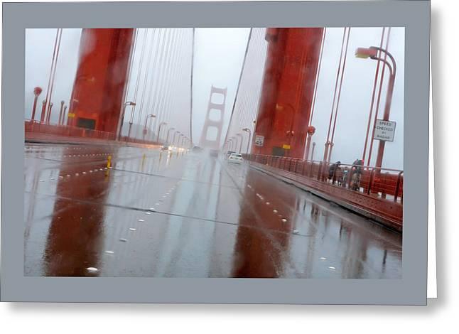 Golden Gate Rain Greeting Card by Daniel Furon