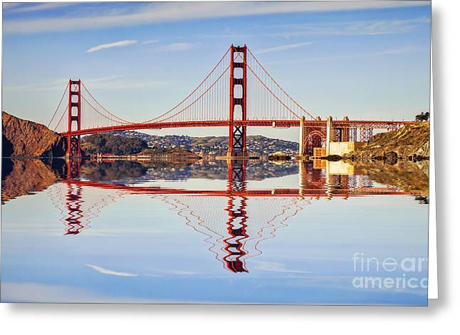 Golden Greeting Cards - Golden Gate Reflection Greeting Card by Colin and Linda McKie