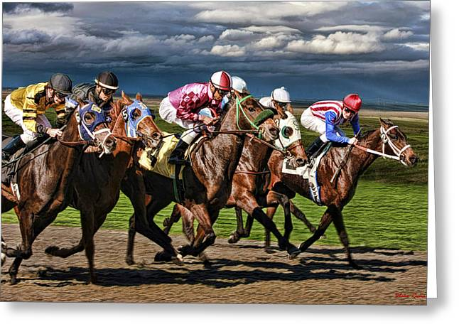 Horse Websites Greeting Cards - Golden Gate Riders Juan Jose Hernandez leads Russell Baze Greeting Card by Blake Richards