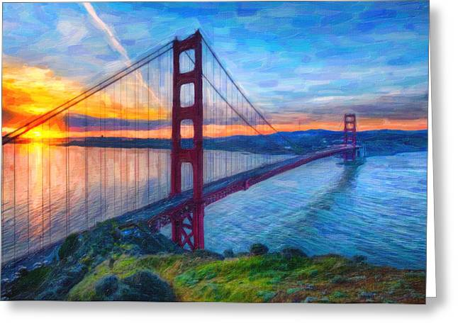 Famous Bridge Mixed Media Greeting Cards - Golden Gate San Francisco Greeting Card by MotionAge Designs