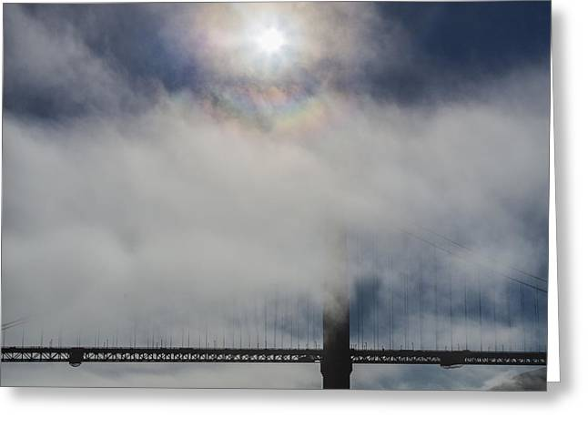 Golden Gate Silhouette and Rainbow Greeting Card by Scott Campbell