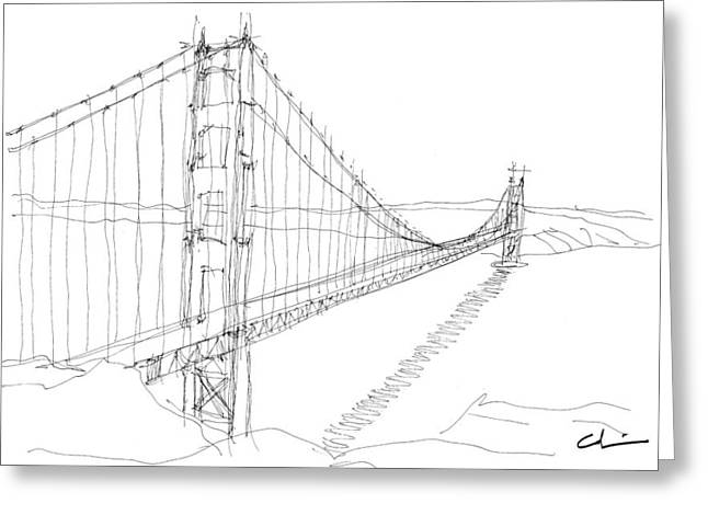 San Francisco Bay Drawings Greeting Cards - Golden Gate Sketch Greeting Card by Calvin Durham