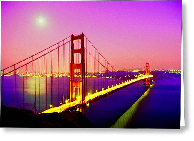 San Francisco Bay Greeting Cards - Golden Gate Bridge by Moonlight Greeting Card by Stephen Edwards