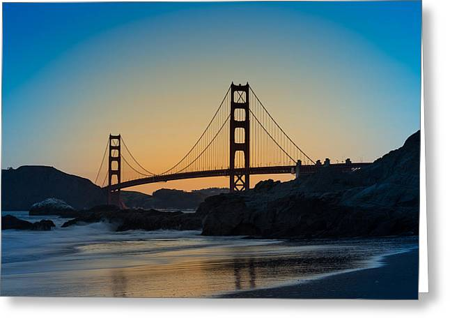 Golden Gate Greeting Cards - Golden Gate Sunrise Greeting Card by Steve Gadomski