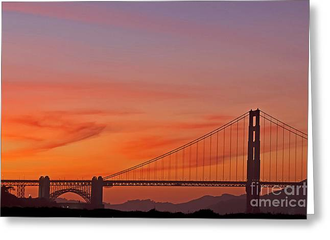 Kate Brown Greeting Cards - Golden Gate Sunset Greeting Card by Kate Brown