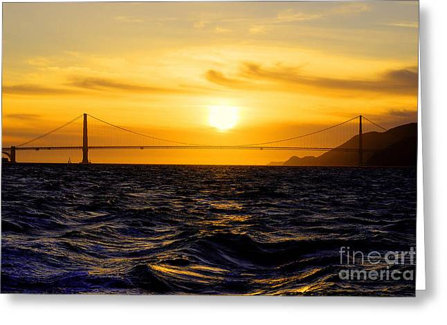 Sunrise Over California Greeting Cards - Golden Gate Sunset  Greeting Card by Rob Hawkins