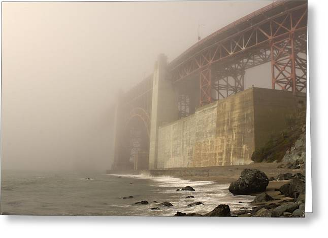 Foggy Beach Greeting Cards - Golden Gate Superfog Greeting Card by Bryant Coffey