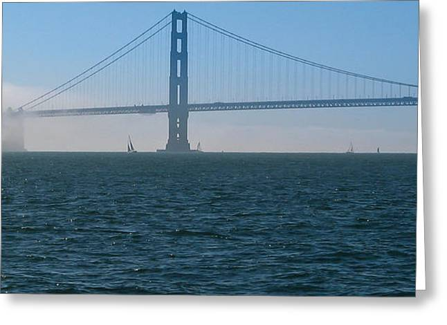 Marin County Greeting Cards - Golden Gate - The Fog is Lifting Greeting Card by J H Clery