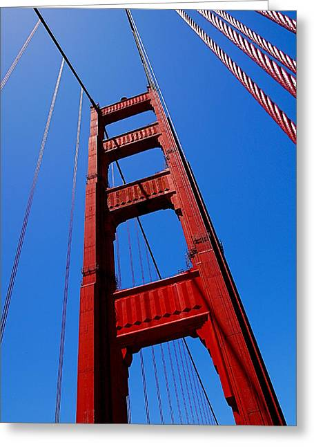 Bay Bridge Greeting Cards - Golden Gate Tower Greeting Card by Rona Black