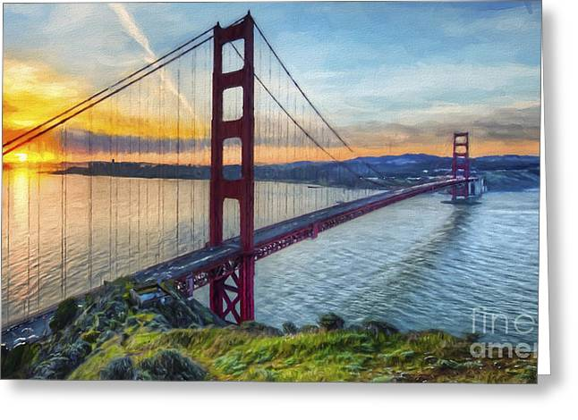 California Art Greeting Cards - Golden Gate Greeting Card by Veikko Suikkanen