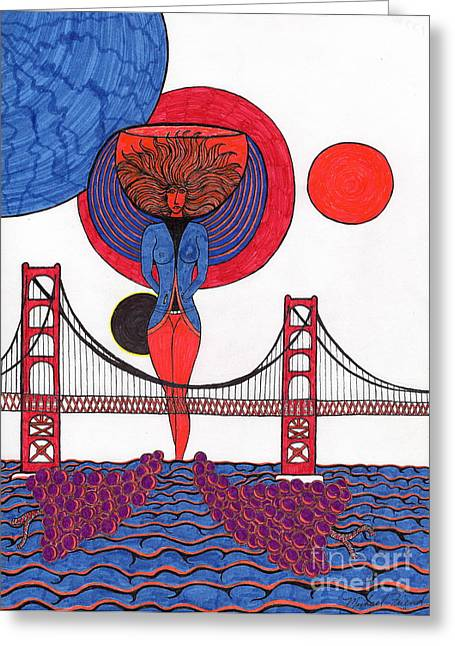 Golden Gate Drawings Greeting Cards - Golden Gate Wine Diva-Goddess Greeting Card by Michael Friend