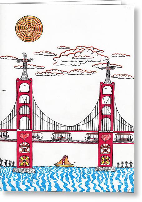Buildings By The Ocean Greeting Cards - Golden Gate with wind power Greeting Card by Michael Friend