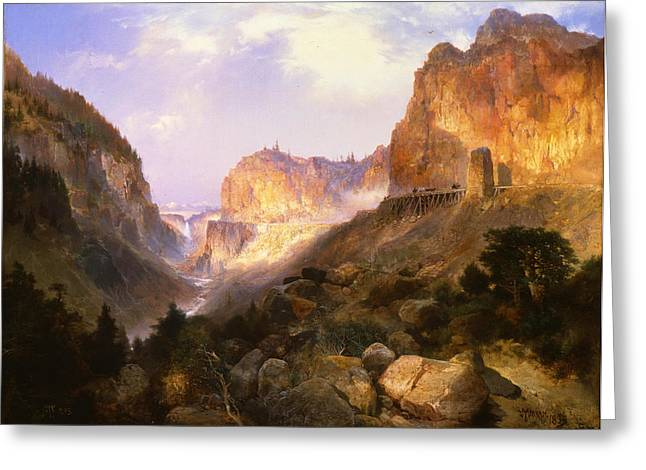 Park Scene Paintings Greeting Cards - Golden Gate Yellowstone National Park Greeting Card by Thomas Moran