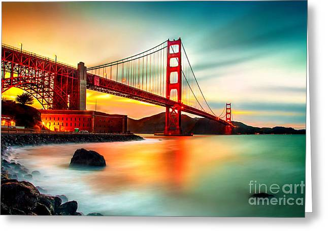 Long Exposure Greeting Cards - Golden Gateway Greeting Card by Az Jackson