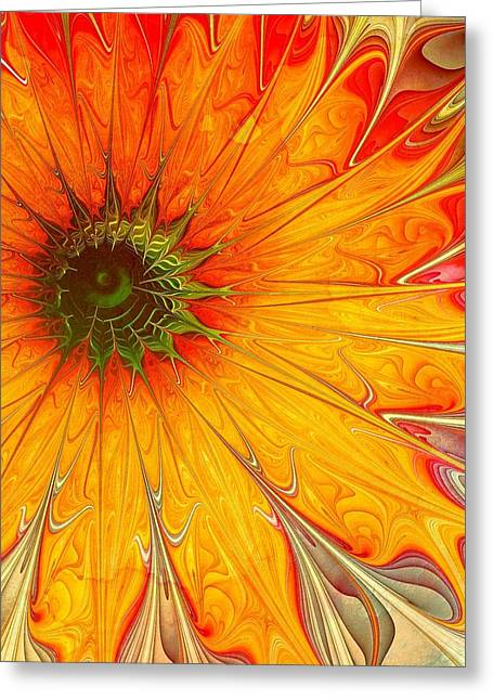 Floral Digital Art Digital Art Greeting Cards - Golden Gazania Greeting Card by Amanda Moore