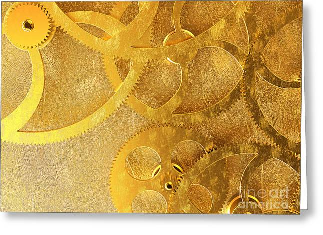 Golden Gears Background Greeting Card by Tomislav Zivkovic