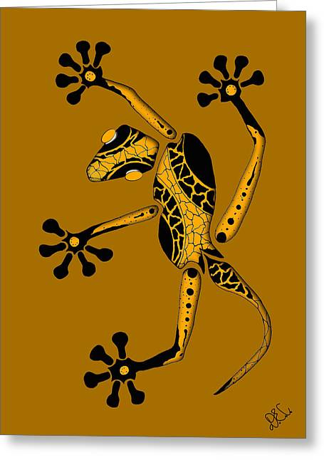 Gecko Print Greeting Cards - Golden Gecko Greeting Card by Doug Chambers