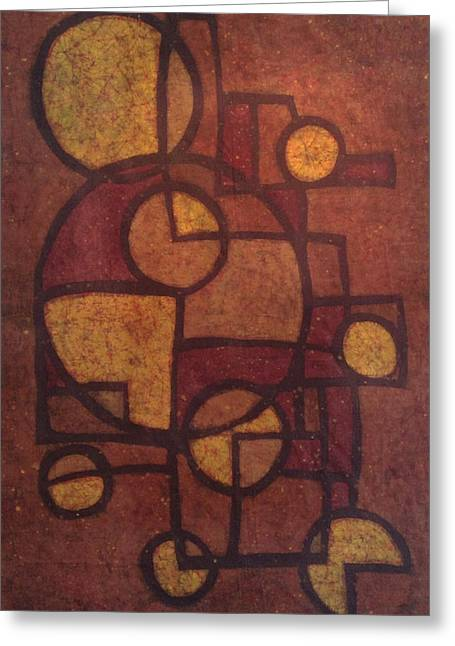 Abstract Tapestries - Textiles Greeting Cards - Golden Geometry Greeting Card by Kevin Houchin