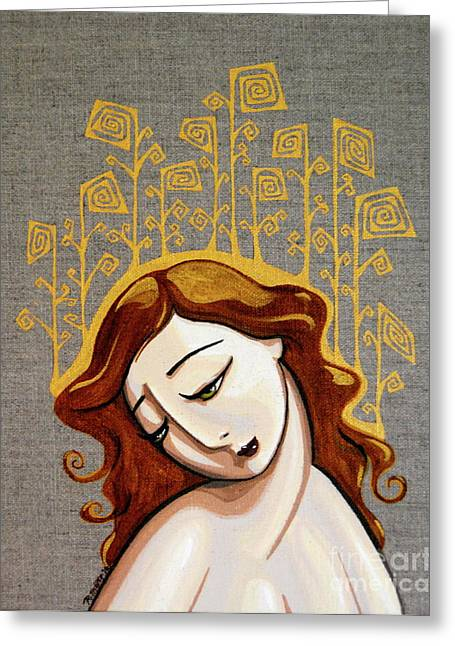 Mott Greeting Cards - Golden Girl Greeting Card by Rebecca Mott