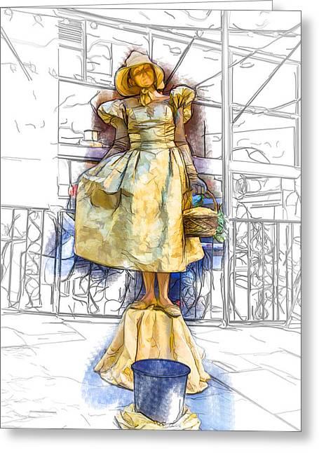 Asheville Mixed Media Greeting Cards - Golden Girl Statue Greeting Card by John Haldane
