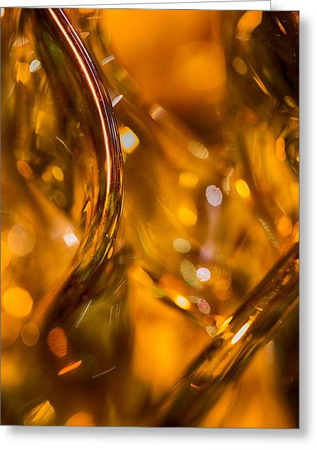 Sparkly Greeting Cards - Golden Glass Greeting Card by Lauri Novak