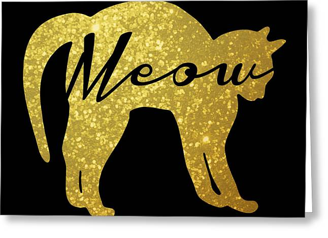 Golden Glitter Cat - Meow Greeting Card by Pati Photography