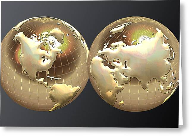 Recently Sold -  - Ultra Modern Greeting Cards - Golden Globes - Eastern and Western Hemispheres on Black Greeting Card by Serge Averbukh