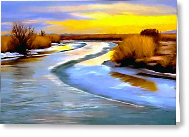 River View Greeting Cards - Golden Glow Frozen Bear River Utah Greeting Card by  Bob and Nadine Johnston