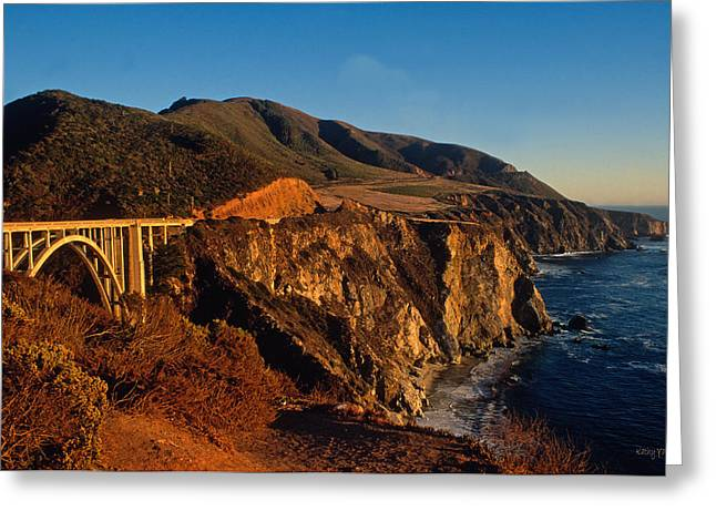 Bixby Bridge Greeting Cards - Golden Glow on Big Sur 2 Greeting Card by Kathy Yates